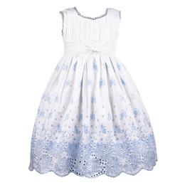 Cotton Kids  Blue Rose Eyelet Dress