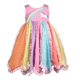Cotton Kids  Pastel Rainbow Unicorn Dress