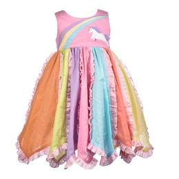 Cotton Kids  Pastel Rainbow Unicorn Dress
