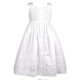 Cotton Kids  White Eyelet Front Button Dress