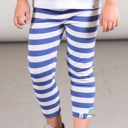 Deux Par Deux    Tropic of Toucan Organic Cotton Striped Capri Legging - Blue/White