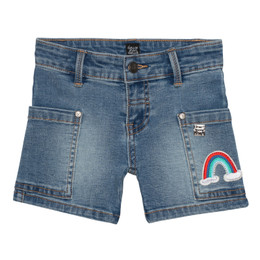 Deux Par Deux    From Tahiti With Love Denim Short w/Rainbow Patch - Med Wash