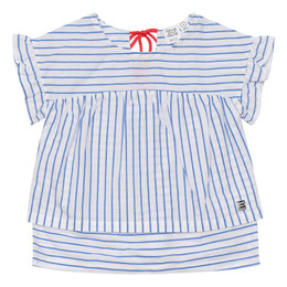 Deux Par Deux    From Tahiti With Love Striped Poplin Blouse - Blue/White