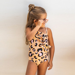 Shade Critters Love Of Leopard Ruffle Front 1pc Swimsuit - Natural Leopard