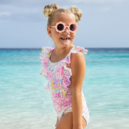 Shade Critters Eye Popping Eyelet Ruffle Sleeve 1pc Swimsuit - Floral Eyelet