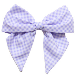 Be Girl Clothing        Lilac Dreams Classic Bow - Lilac Gingham
