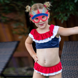 Planet Sea Red White & Blue 2pc Tiered Ruffle Swimsuit