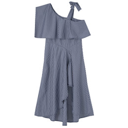 Habitual Girl   Asymmetrical High Low Dress - Navy Stripe