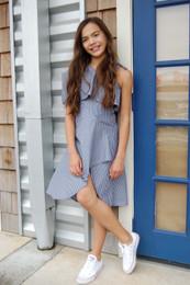 Habitual Girl   Asymmetrical High Low Dress - Navy Stripe