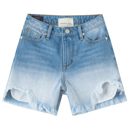 Habitual Girl   High Waist Frayed Short - Med Stone