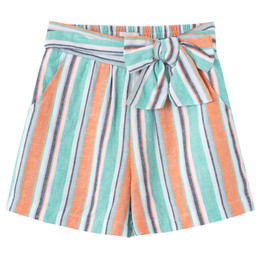 Habitual Girl   Multi Striped Linen Short - Stripe