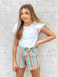 Habitual Girl   Multi Striped Linen Short - Stripe