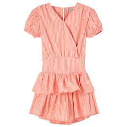 Habitual Girl   Puff Sleeve Ruffle Skirted Romper - Coral