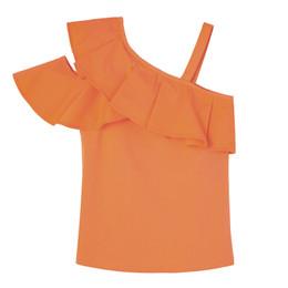 Habitual Girl   Ruffle Knit/Woven Top - Coral
