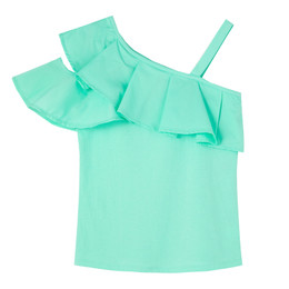 Habitual Girl   Ruffle Knit/Woven Top - Mint