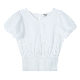 Habitual Girl   Puff Sleeve Allover Eyelet Top - White