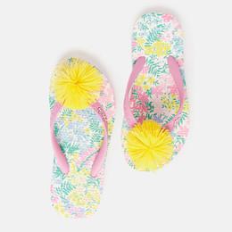 Joules Flip Flops - White Floral