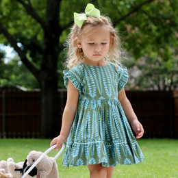 Pink Chicken    Niley Dress - Pine Green w/Raindrops