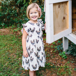 Pink Chicken    Kit Dress - Chickens