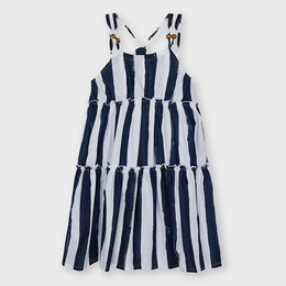 Mayoral     Striped Tiered Sundress w/Bead Accents - Navy/White
