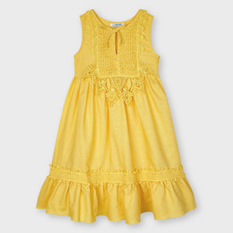 Mayoral     Linen Dress w/Lace Bodice Accent - Mustard