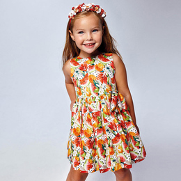 Mayoral     Printed Fruit Floral & Dot Dress - Multi