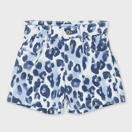 Mayoral     Animal Print High Rise Shorts - Blue