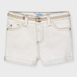 Mayoral     Twill Cuffed Shorts w/Rope Belt & Contrast Stitching - Natural