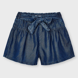 Mayoral     Flared Denim Shorts w/Bow Accent - Dark Wash