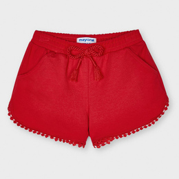 Mayoral     Knit Shorts w/Embroidered Hem - Poppy Red