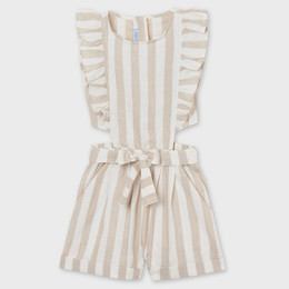 Mayoral     Linen Striped Romper w/Side Cutouts - Oat