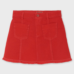 Mayoral     Twill Skirt w/Fringe Hem - Poppy Red