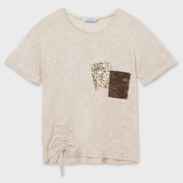 Mayoral Ruched Tee w/Sequin Pocket - Oat