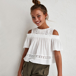 Mayoral     Cold Shoulder Top w/Lace Insets - Natural