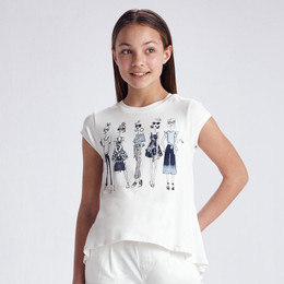 Mayoral     Sassy Girls Hi-Lo Tee - White