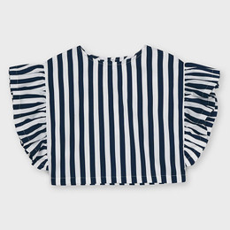 Mayoral     Striped Top w/Ruffle Accents - Navy