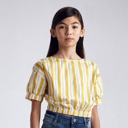 Mayoral     Striped S/S Top - Mustard