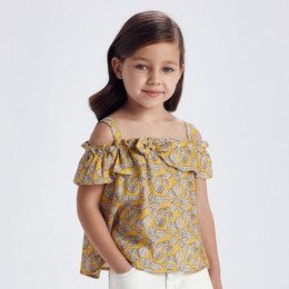 Mayoral     Printed Cold Shoulder Ruffle Top - Mustard