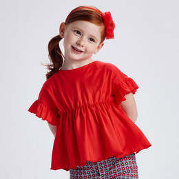 Mayoral     Ruffled Sleeve Tunic Top - Poppy Red