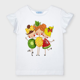 Mayoral Fruit Loving Gals Flounce-Sleeved Tee - White