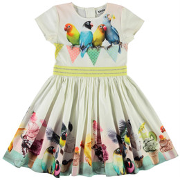 Molo       Candy Organic Woven Dress - Ice Ice Birdie