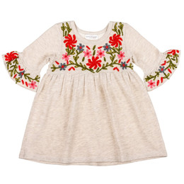 Mimi & Maggie Oatmeal Flowers Embroidered Knit Dress - Ecru