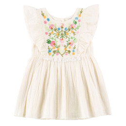 Mimi & Maggie Desert Wildflowers Embroidered Dress - Natural