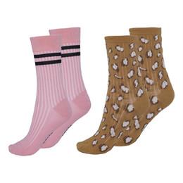 Molo        Nomi Socks - 2 pack! - Graphic Deer & Pink Stripe