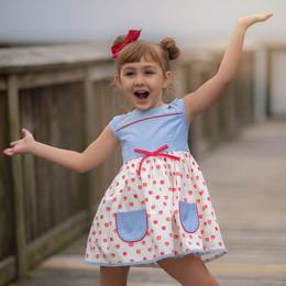 Evie's Closet          Back To School Sweet As Apple Pie 2pc Pocket Dress
