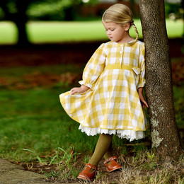 Ren & Rouge   Laced Gingham Twirl Dress - Yellow **PRE-ORDER**
