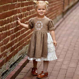 Ren & Rouge   Embroidered Side Ruffle Linen Dress - Brown **PRE-ORDER**