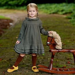 Ren & Rouge   Ruffle Tiered Gauze Dress - Olive