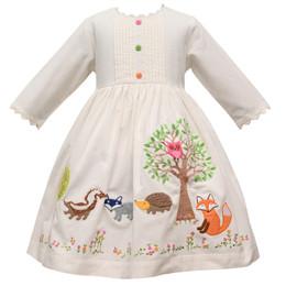 Cotton Kids   Woodland Ecru Corduroy Dress
