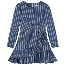 Habitual Girl     Ruffled Mock Wrap Dress - Indigo **PRE-ORDER**